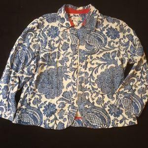 Coldwater Creek 100% Cotton Zip Up Floral Jacket